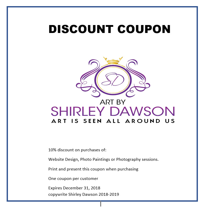 Coupon for Art by Shirley Dawson