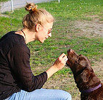 Image of woman giving dog a treat
